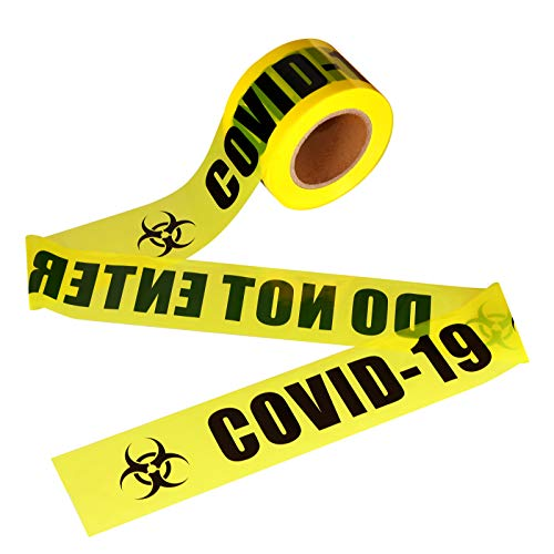 VICMORE Highly Visible Caution Tape with Bold Black Text COVID-19 DO NOT ENTER 3-Inch by 660-Feet Roll Bright Yellow Quarantine Tape Safety Barricade Tape Non-Adhesive Barrier Tape