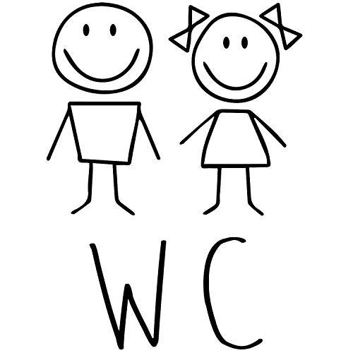 WC Tür-Aufkleber I schwarz I 18 x 24 cm I Motiv Mädchen und Junge I für Badezimmer-Tür, Toiletten-Sticker I Klebe-Schild für Restaurant Laden Geschäft I Folie selbstklebend I hin_225