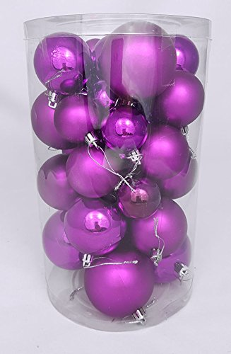 Spetebo Christbaumkugeln 30er Set - Weihnachtskugeln in 4 verschiedenen Größen - Material: Kunststoff (lila)