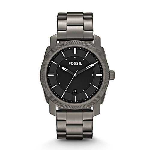 FOSSIL Machine Three Hand Stainless Steel Watch - Smoke: Watches