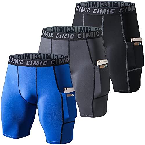frueo 3 Piezas Pantalones Cortos Hombre Mallas Cortas Hombre Mallas Running Hombre de Entrenamiento con Bolsillos(0409) Black Gray Blue-XL