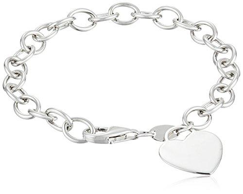Sterling Silver Heart-Tag Bracelet, 7.5'