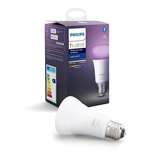 """Philips Hue White & Color Ambiance E27 LED Lampe Einzelpack, dimmbar, bis zu 16 Millionen Farben, steuerbar via App, kompatibel mit Amazon Alexa (Echo, Echo Dot), Gerät """"Zertifiziert für Menschen"""""""