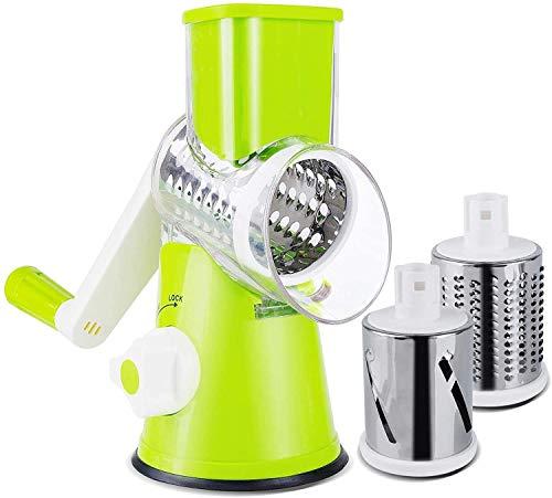 careslong - Affettatrice Rotante per Verdure, Formaggio, grattugia, trituratore, Verdure, mandolina, Tritatutto, 3 grattugie, in Acciaio Inox, Senza BPA (Verde)