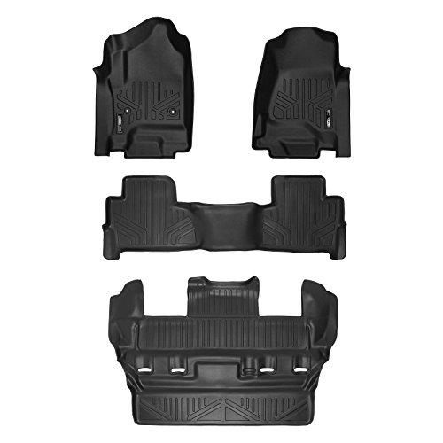 MAXLINER Custom Fit Floor Mats 3 Row Liner Set Black for 2015-2020 Chevrolet Tahoe / GMC Yukon