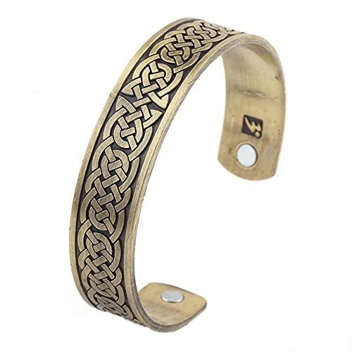 DFWY Women Men Viking Irish Knot Adjustable Open Cuff Bangle,Nordic Mythology Celtic Knot Vintage Amulet Bracelet,Handmade Polished Punk Wristband Jewelry Gift (Color : Bronze)