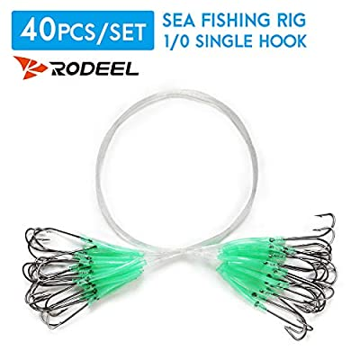 Rodeel 40 PCS Sea Fishing Rigs Pulley Rigs with High Carbon Steel Fishing Hook, Long Shank Hooks