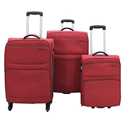 F|23 3-delig Trolley-set, polyester, Santa Cruz2.0, rood/bruin, TSA-slot kofferset, 77 cm, 54.5 liter, rood/bruin