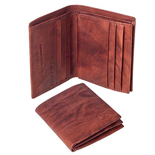 Linda Chiarelli portafoglio uomo vera pelle made in Italy blocco RFID. Piccolo portafogli con portamonete, porta tessere e carte di credito, scompartimento banconote, sottile vintage PORT3BR T.MORO