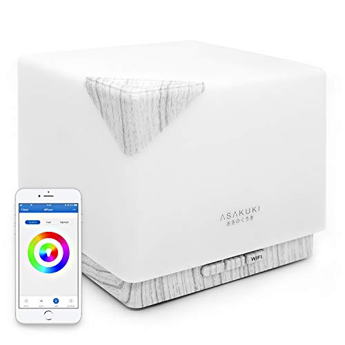 ASAKUKI Smart Wi-Fi Essential Oil Diffuser, App Control Compatible with Alexa, 700ml Aromatherapy Humidifier for Relaxing Atmosphere in Home and...