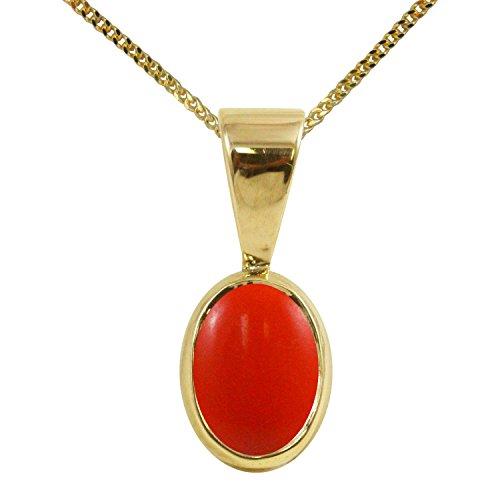 BJC® 9ct oro Amarillo Natural Peach Coral único Oval solitario colgante collar de 1,50CT opcional se vende por separado