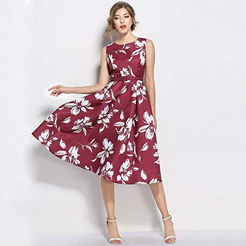 QUNLIANYI Abendkleid Abiballkleid Red Dresses Frauen Floral Gedruckt Ärztemacht-Party Kleid Mit...