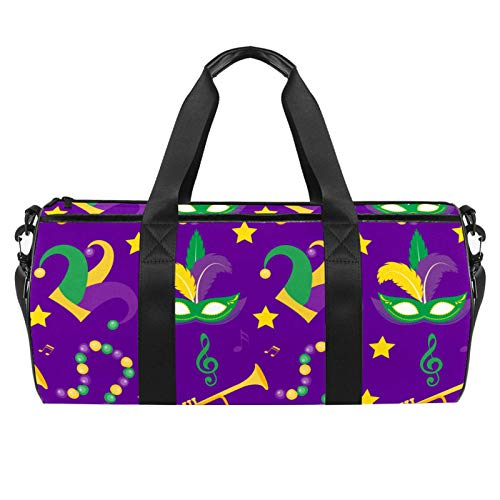 LAZEN Hombro Handy Sports Gym Bags Travel Duffle Totes Bag para Hombres Mujeres Mardi Gras Carnival Mask Plumas Cuentas