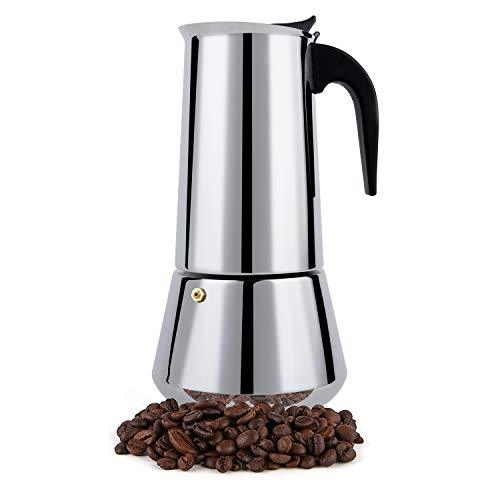Stovetop Espresso Maker, Moka Pot, 12 Cup Percolator Italian Coffee Maker, Classic Cafe Maker, Stainless Steel, Suitable For Induction Cookers (Silver, 12 Cup)