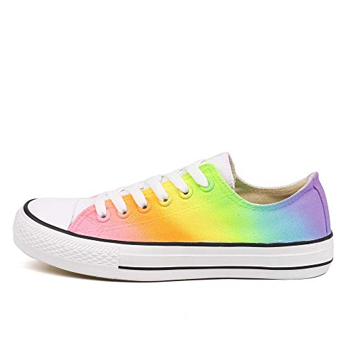 Rainbow Canvas Shoes Women Dye Sneakers Colorful Low Top Adults Casual Flats Hand Paint (7 Women / 5 Men /CN39,P-D120C)