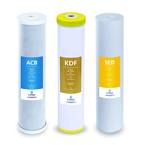 """Express Water Whole House Heavy Metal Water Filter Set – 3 Stage Water Filtration Replacement Kit – Sediment, Carbon Block, KDF High Capacity Cartridge Filters – 5 Micron Water Filter 4.5"""" x 20"""" inch"""