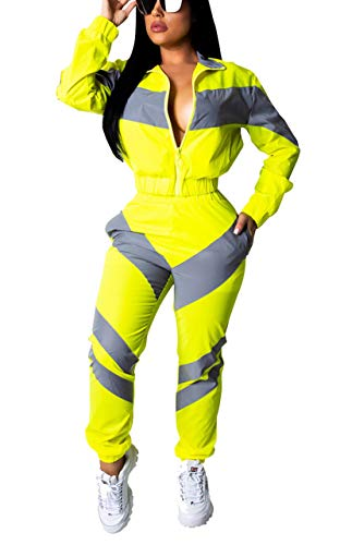 Bluewolfsea Womens Tracksuit Colorblock 2 Piece Sports Outfits Striped Patchwork Windbreaker Jacket and Pants Set XX-Large Yellow