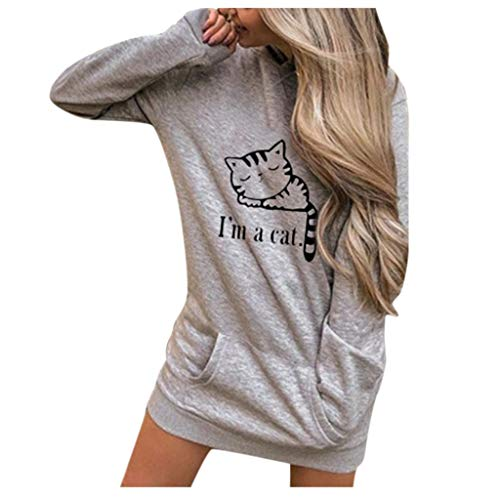 Miss Fortan - Vêtement Sweat Femme avec Capuche Hiver Chaud Imprimé Sweat-Shirt Manches Longues Poches Hooded Pullover Casual Tops
