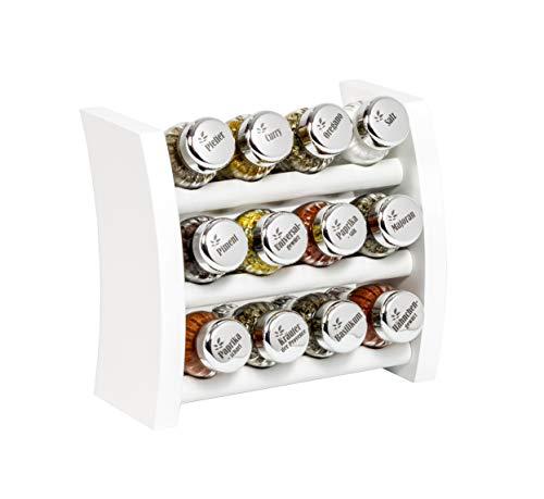 Gewürzregal, Küchenregal aus Holz für Gewürze und Kräuter, 12 Gläser, Gald - 12F 4x3 weiß glänzend