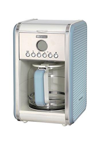Ariete 1342, Kaffeemaschine für Filterkaffee, Kaffeekanne aus gehärtetem Glas mit einem Fassungsvermögen von bis zu 12 Tassen, Timer zur 24-Stunden-Programmierung, Abschaltautomatik, 2000 W, Hellblau