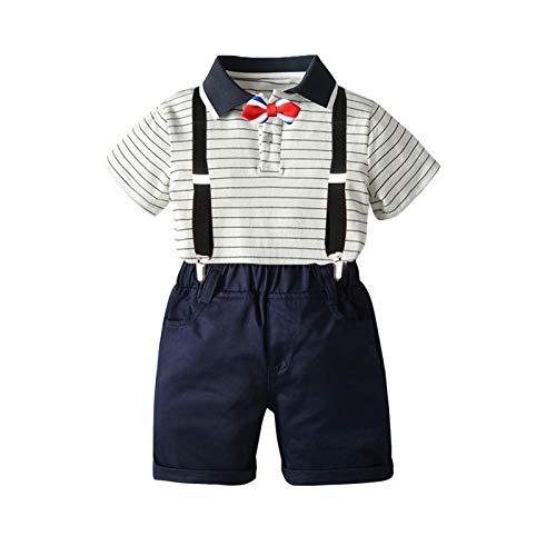 I3CKIZCE Completi Bambino 1-5 Anni 2 PCS Polo Camicia + Salopette a Maniche Corte Stampa a Righe Farfallino Abito da Sera Moda Dolce Casual (Bianco, 18-24 Mesi)