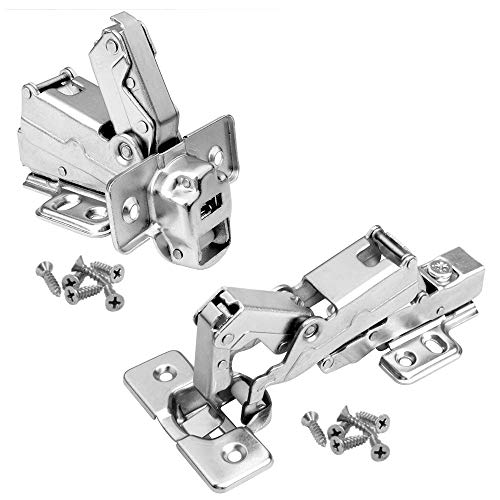 OTTFF 8 Pcs 165 Degree Quiet Soft Close Cabinet Hinges Hardware for Frameless Corner Kitchen Cupboard Door Clip-on Hinge, Full Overlay Concealed, Cold Rolled Steel