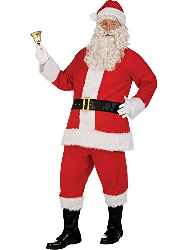 Santa Costume Kit Deluxe Flannel Suit XL with Wig and Beard