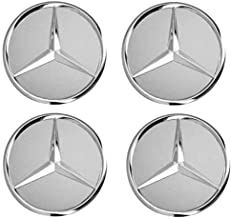 BRASKO Generic Lot de 4 cache-moyeux de rechange pour Mercedes Benz Noir 75 mm