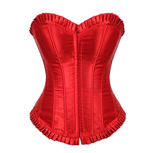 Women's Bustier Corset Top Sexy Lingerie Sets Black Satin Waist Cincher Red 4X-Large