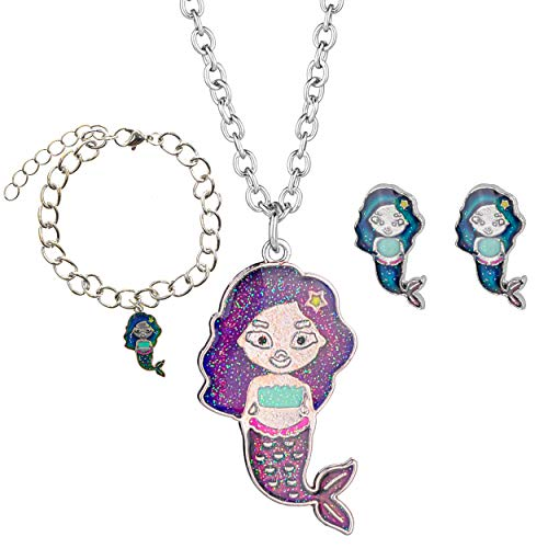 Mermaid Mood Necklace, Mood Bracelet and Mood Earrings Set for Girls - Color Changing Mermaid Kids Jewelry for Little Girls, Mood Jewelry for Girls- Great Party Favors and Stocking Stuffers for Girls