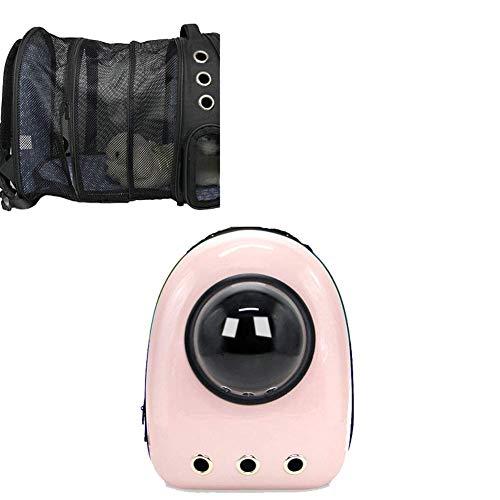 GBY Pet Out Tragetasche, Haustier-Rucksack erweiterbar, tragbarer atmungsaktiver Rucksack, mit Netz-Öffnung, kann den Rücken dehnen mehr Platz ist sehr geeignet für Welpen