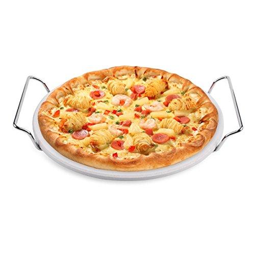 Hero Pizzasteen Ø 25,4 cm cordieriet met metalen frame voor gaskolen grills