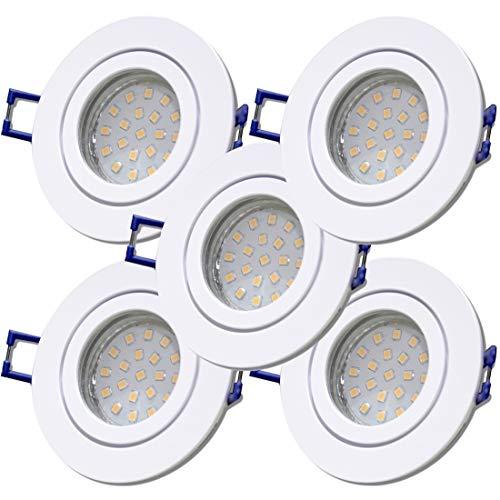 LED Bad Einbaustrahler 12V inkl. 5 x 5W SMD LM Farbe Weiß IP44 LED Einbauleuchten Neptun Rund 3000K Deckenspots