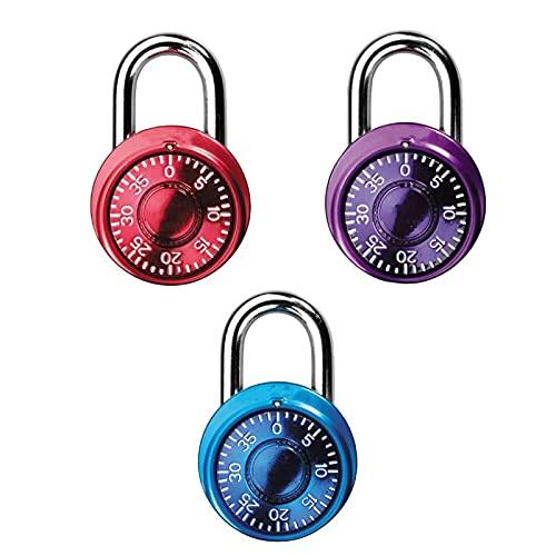 HDHUIXS Locker Lock Mini Combinación de candado para el Armario de la Escuela, el gabinete de la Paja, la Caja de Herramientas, el Paquete de 3, los Colores Surtidos