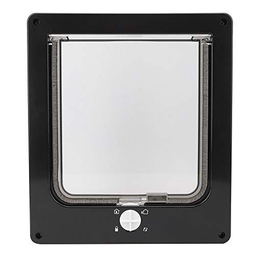 Magnetische Katzentür 4 Wege Verriegelungsklappe für Haustiere Flexible Katzenklappe für Hunde mit Drehschalter für Innenwandfenster(Schwarz)