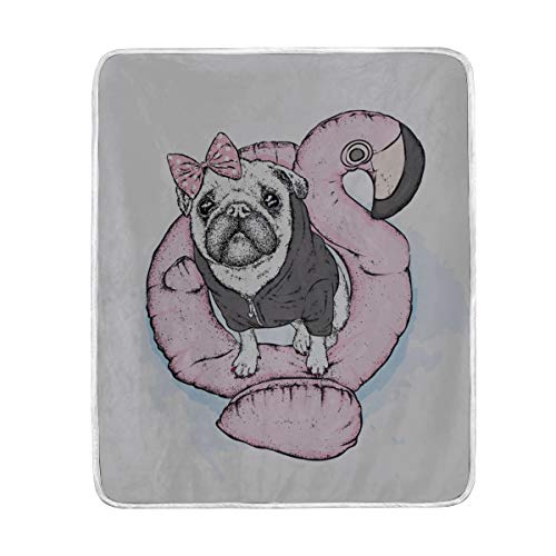 """GGKDL Throw Blanket Funny Pug On Inflatable Circle Form Soft Blanket Warm Plush Blanket for Sofa Chair Bed Office Gift Best Friend Women Men 50""""x60"""" Soft Blankets for Kids"""