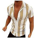 Camisa de verano de manga corta para hombre, estilo informal, a rayas, de color bloqueado, corte ajustado, básico. amarillo XXXL