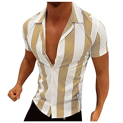 Camisa de verano de manga corta para hombre, estilo informal, a rayas, de color bloqueado, corte ajustado, básico. amarillo M