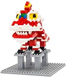 FJJF Mini Bloques China Lion Dance Micro Blocks Building Set DIY Ladrillos Educación Juguete para Niños,B
