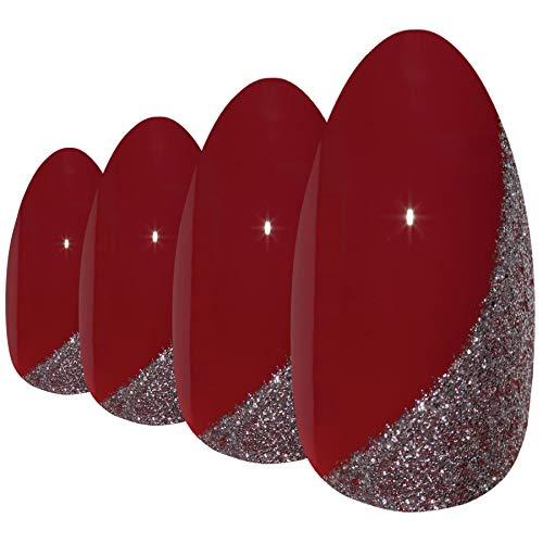 False Nails by Bling Art Red Glitter Almond Stiletto Acrylic 24 Fake Long Tips