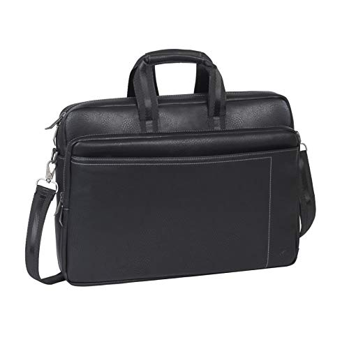 RIVACASE Notebooktasche für Laptops bis 16 Zoll – Stilvolle Kunstleder Reisetasche mit gepolsterten Seiten & Transporthalterung für einen Rollkoffer/ 8940 Schwarz