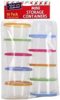 Nicole Home Collection 02046 Mini Round Containers with Neon Lids, 5oz, Multicolor