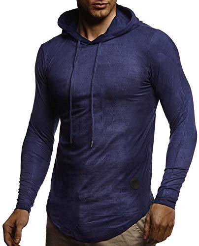 Leif Nelson Herren Kapuzenpullover Slim Fit Moderner Herren weißer Hoodie-Sweatshirt-Pulli Langarm Herren schwarzer Pullover-Shirt mit Kapuze1060;M,Dunkel Blau