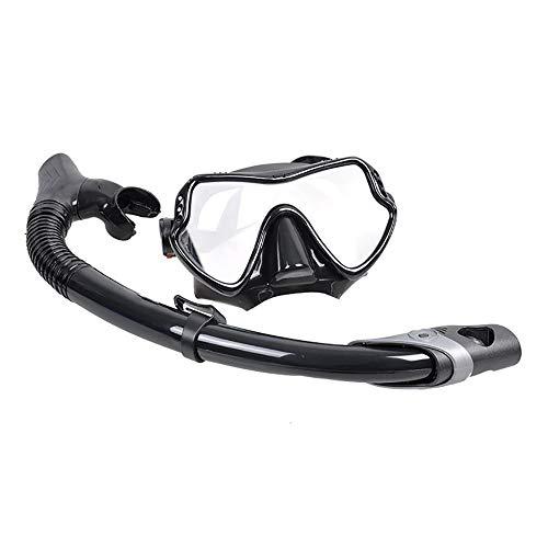 Traje de máscara Durable Snorkel Goggle Set New Diving Gafas Panorámica amplia vista impermeable y anti-niebla Lente for jóvenes adultos Adecuado para snorkeling ( Color : Black , Size : One size )