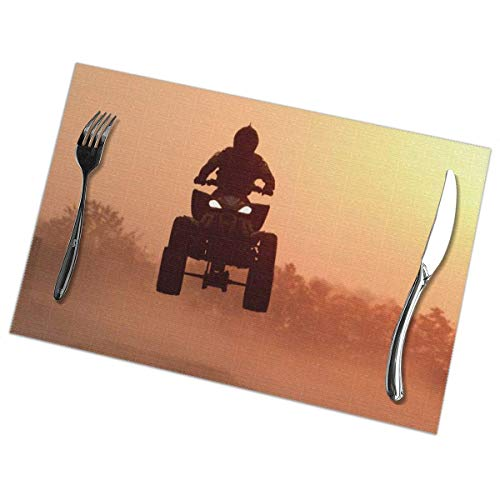 ONLED Coffee Placemat PVC Heat-Resistant Stain Resistant Large Tablemats for Kitchen/Dinning Table Farmhouse Table Decor (Set of 6, Silhouette ATV Or Bikes Jump in The Sunset Place Mat)