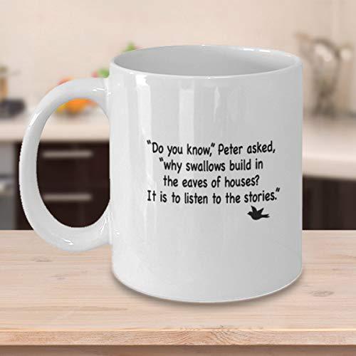 Eli231Abe Peter Pan mok Weet je waarom slikken bouwen in de dakrand van huizen Het is om te luisteren naar de verhalen film zegt mok