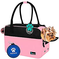 PetAmi Airline Approved Dog Purse Carrier | Soft-Sided Pet Carrier for Small Dog, Cat, Puppy, Kitten | Portable Stylish Pet Travel Handbag | Ventilated Breathable Mesh, Sherpa Bed