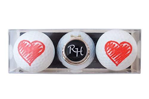 RoLoGOLF Geschenk-Set: 2 Golfbälle mit Herz und Cap-Clip + Marker mit INITIALEN! Witzige Geschenk Idee für jeden Golfer!
