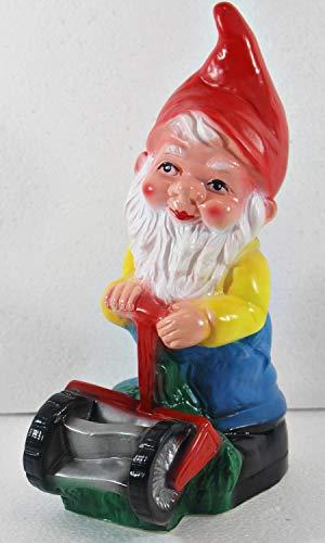 OMÜ Otto Müller Gartenzwerg Figur Zwerg mit Rasenmäher H 27 cm Gartenfigur aus Kunststoff
