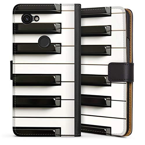 DeinDesign Klapphülle kompatibel mit Google Pixel 3a Handyhülle aus Leder schwarz Flip Case Klavier Musik Piano